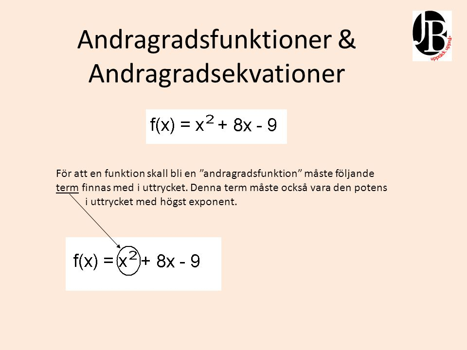 Andragradsfunktioner & Andragradsekvationer