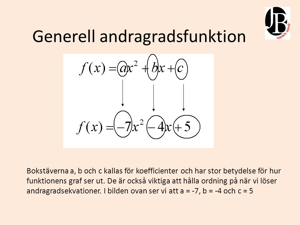 Generell andragradsfunktion