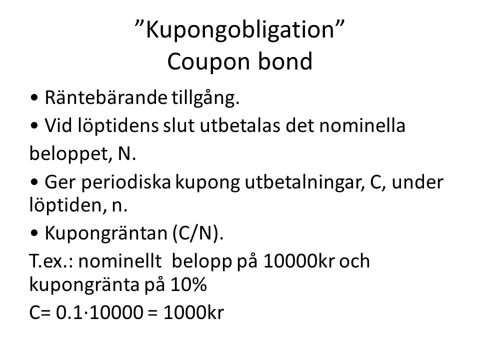 Kupongobligation Coupon bond