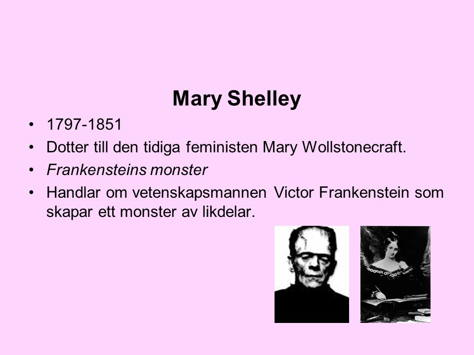 Mary Shelley Dotter till den tidiga feministen Mary Wollstonecraft. Frankensteins monster.