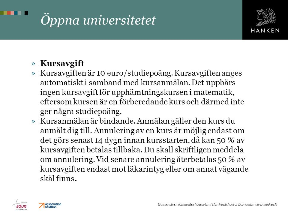 Öppna universitetet Kursavgift