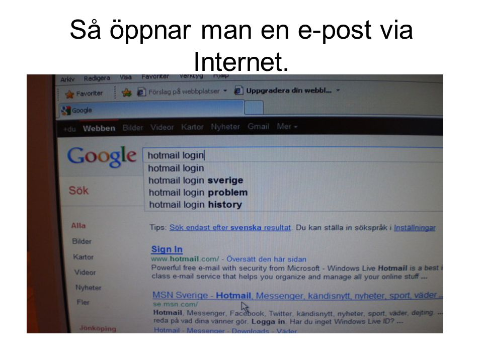 Så öppnar man en e-post via Internet.