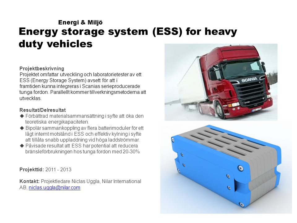 Energy storage system (ESS) for heavy duty vehicles
