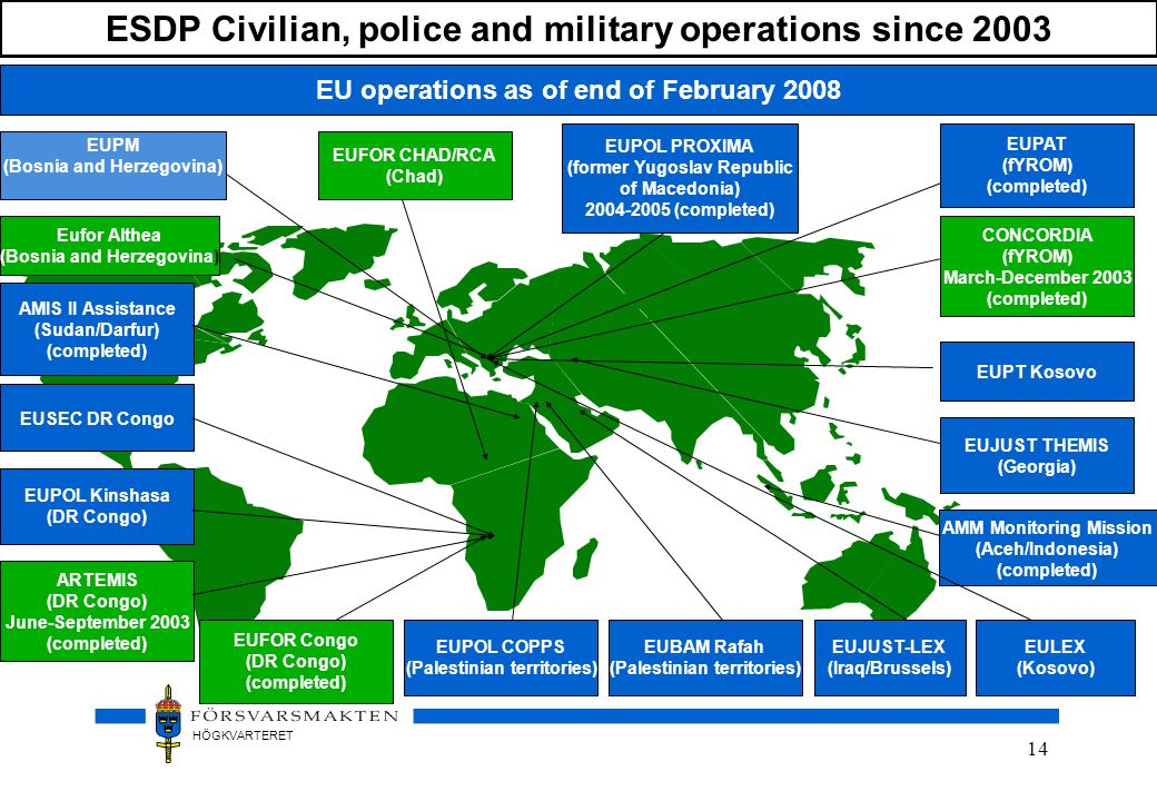 ESDP Civilian, police and military operations since 2003