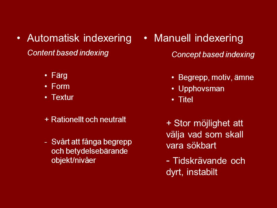 Automatisk indexering Manuell indexering Concept based indexing