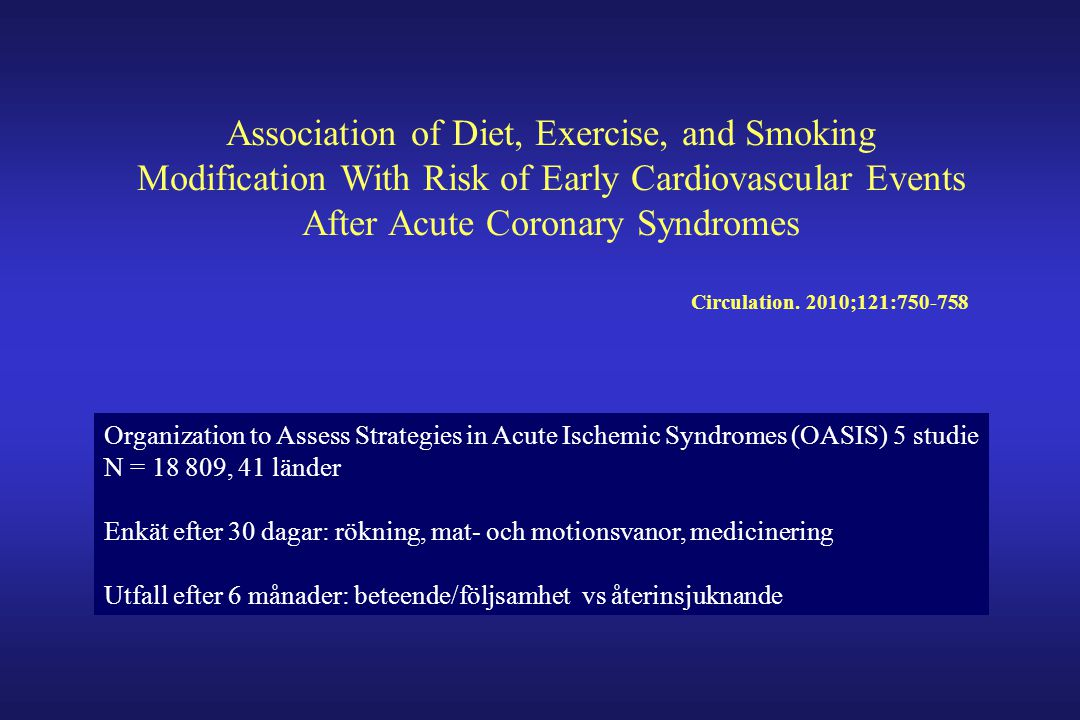 Association of Diet, Exercise, and Smoking Modification With Risk of Early Cardiovascular Events After Acute Coronary Syndromes