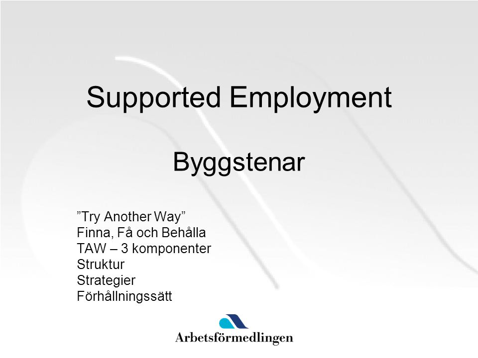 Supported Employment Byggstenar Try Another Way