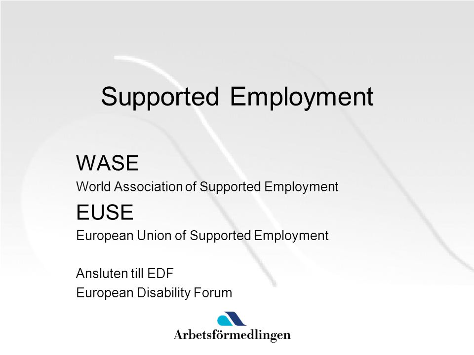 Supported Employment WASE EUSE