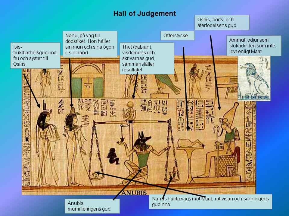 Hall of Judgement Osiris, döds- och återfödelsens gud.