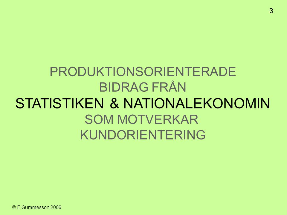 STATISTIKEN & NATIONALEKONOMIN