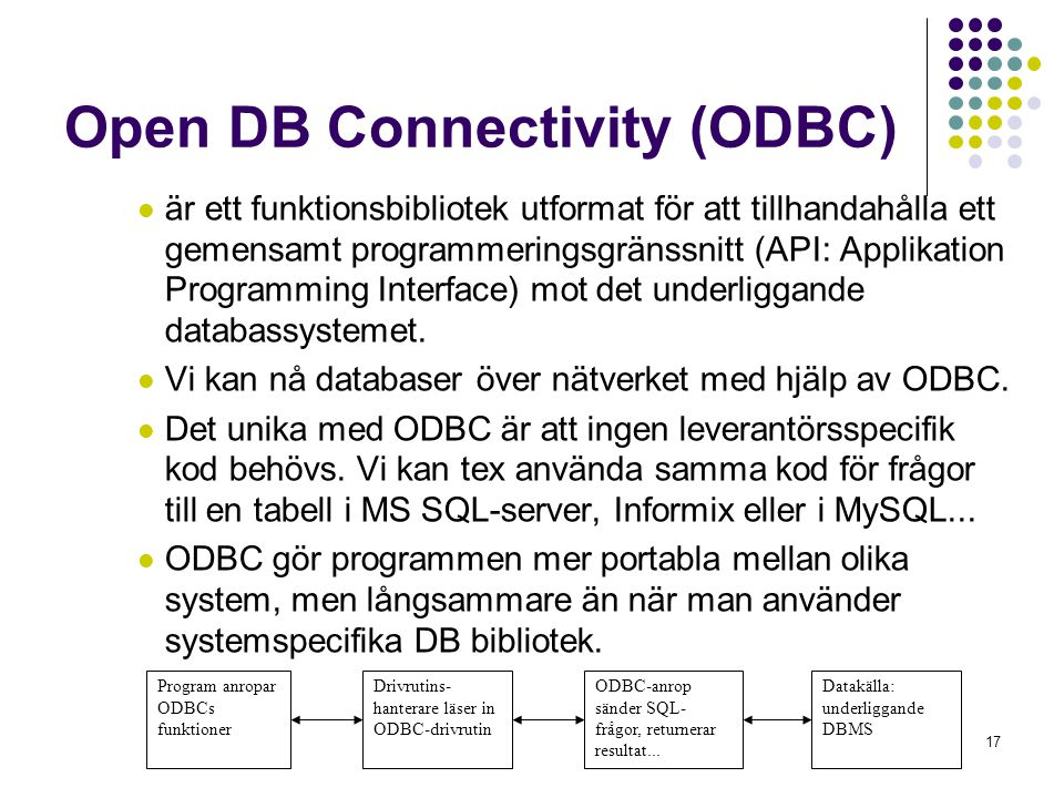 Open DB Connectivity (ODBC)