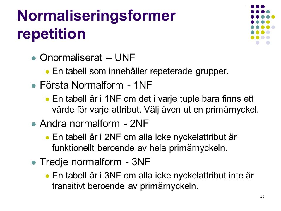 Normaliseringsformer repetition