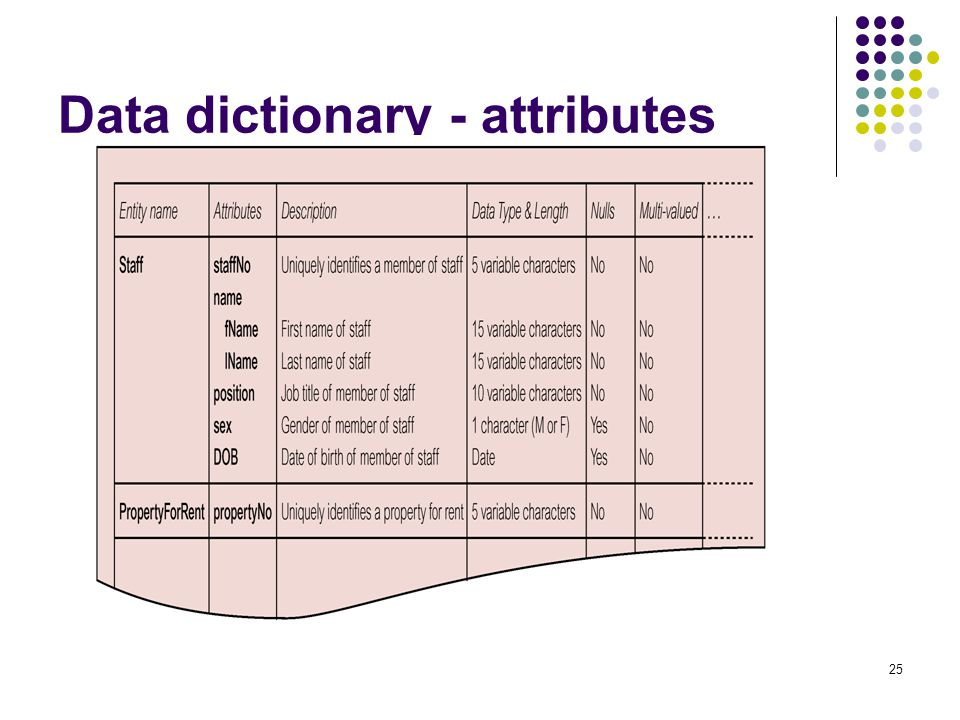 Data dictionary - attributes