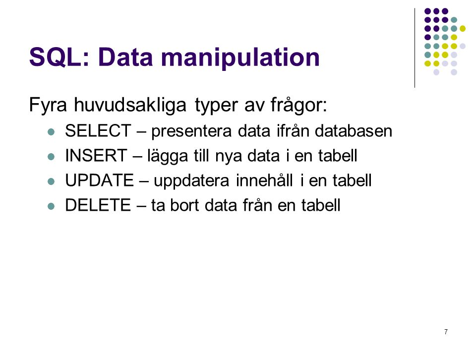 SQL: Data manipulation