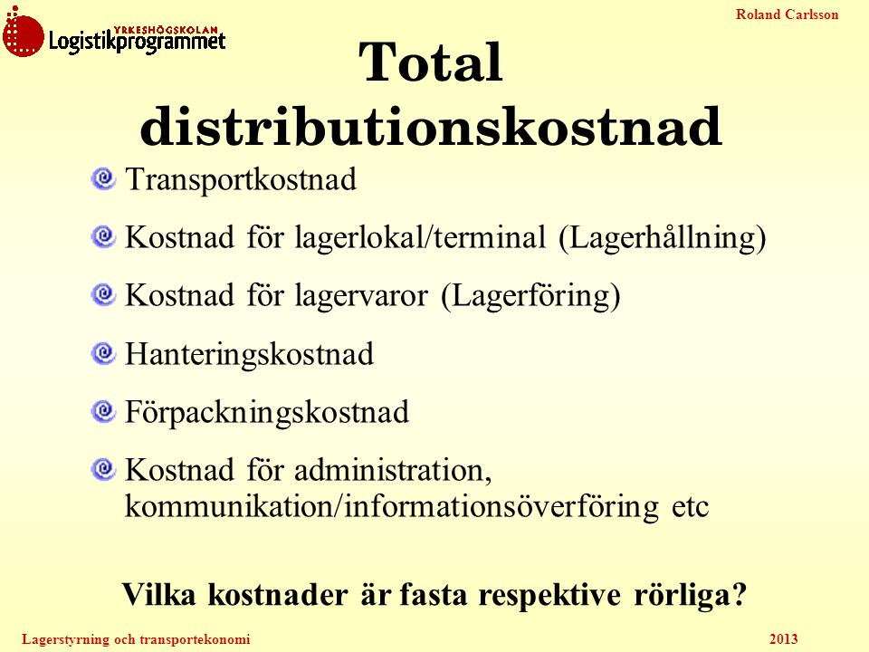 Total distributionskostnad
