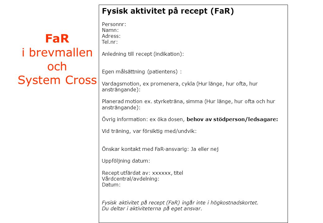 FaR i brevmallen och System Cross