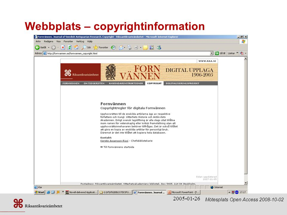 Webbplats – copyrightinformation