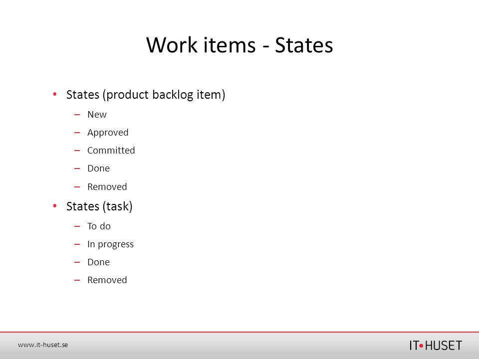 Work items - States States (product backlog item) States (task) New