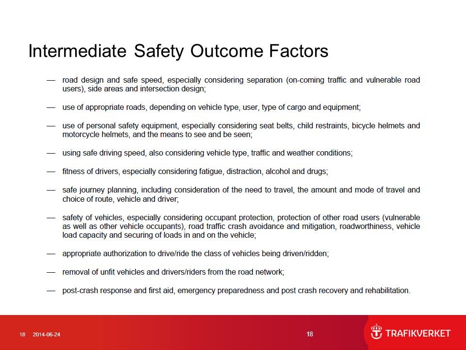 Intermediate Safety Outcome Factors