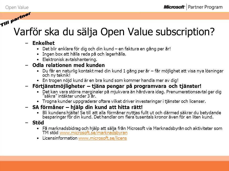 Varför ska du sälja Open Value subscription