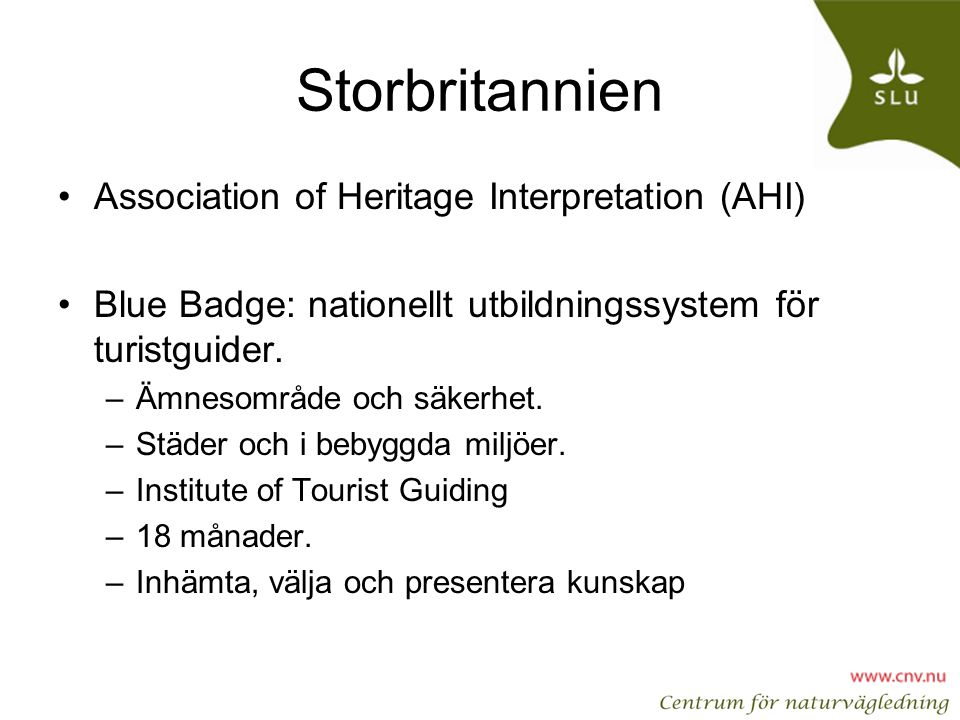 Storbritannien Association of Heritage Interpretation (AHI)