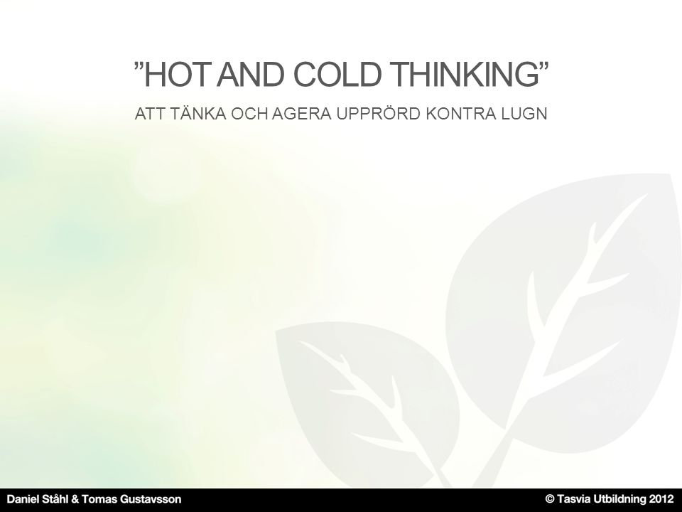 HOT AND COLD THINKING