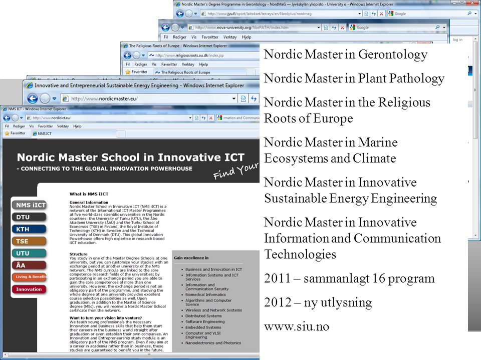 Nordic Master in Gerontology Nordic Master in Plant Pathology