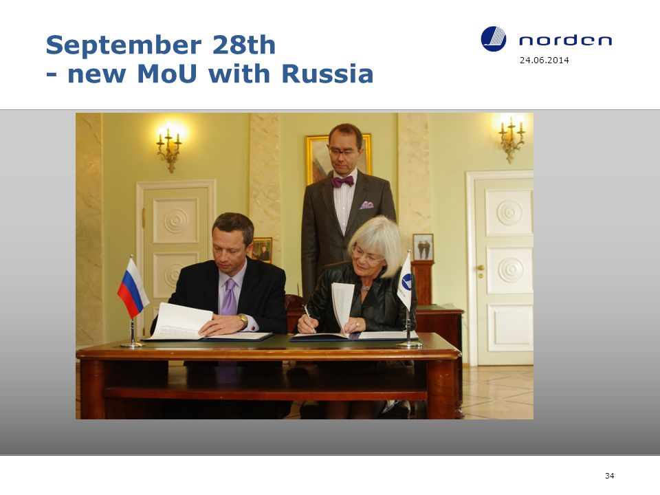 September 28th - new MoU with Russia