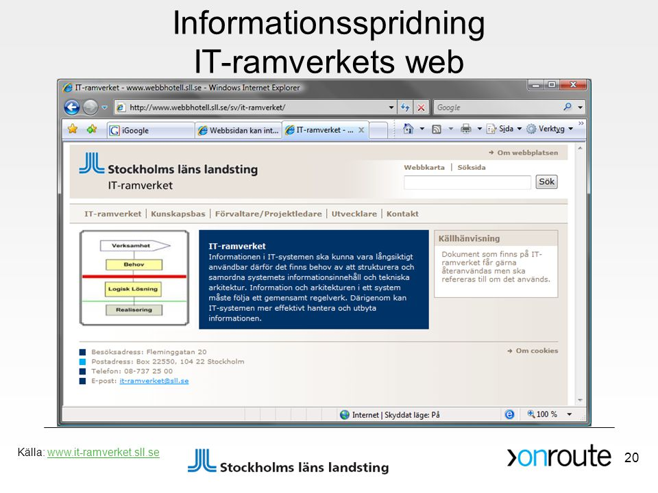 Informationsspridning IT-ramverkets web
