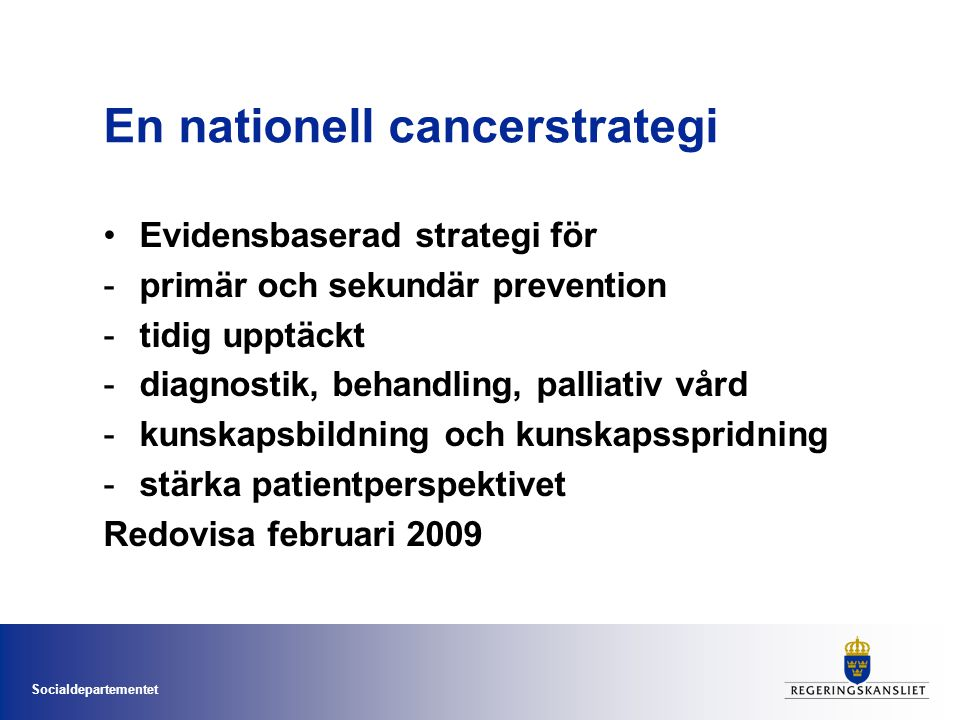 En nationell cancerstrategi