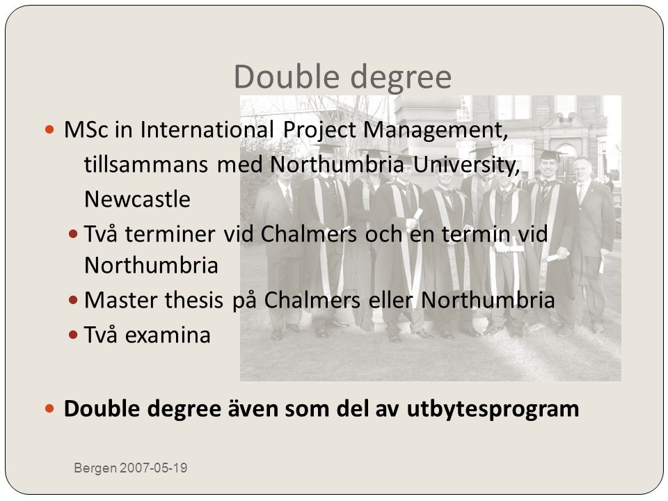 Double degree MSc in International Project Management,