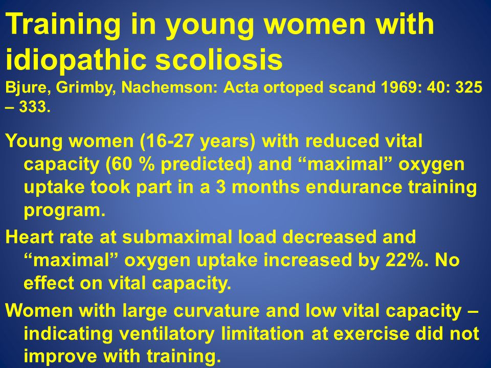 Training in young women with idiopathic scoliosis Bjure, Grimby, Nachemson: Acta ortoped scand 1969: 40: 325 – 333.