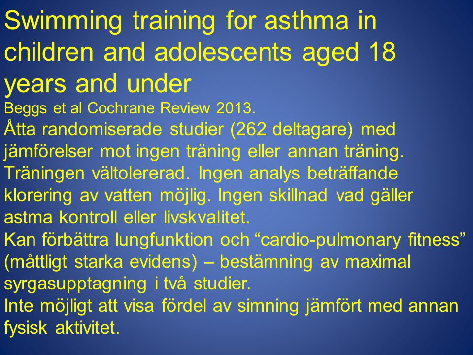 Swimming training for asthma in children and adolescents aged 18 years and under