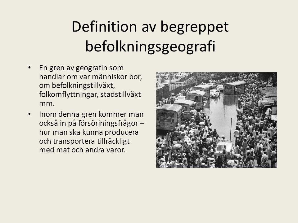 Definition av begreppet befolkningsgeografi