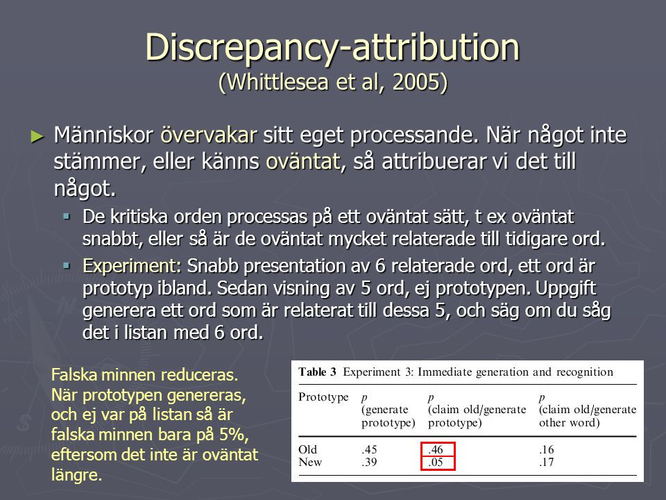 Discrepancy-attribution (Whittlesea et al, 2005)