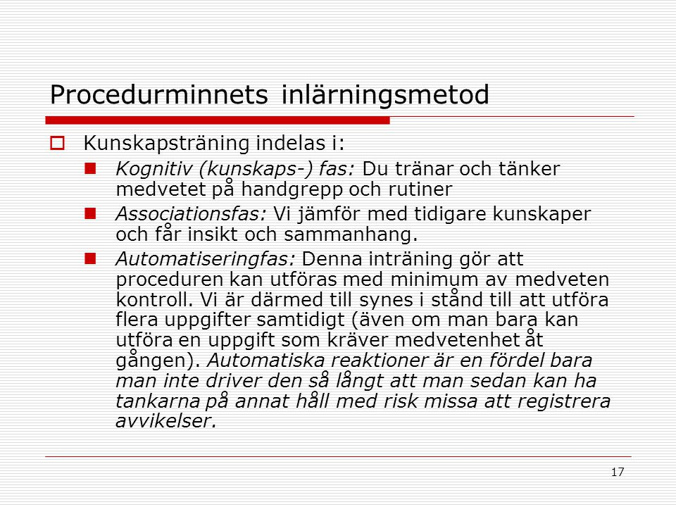 Procedurminnets inlärningsmetod