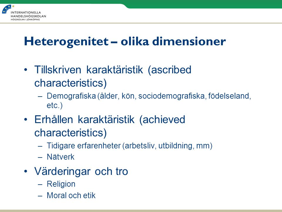 Heterogenitet – olika dimensioner