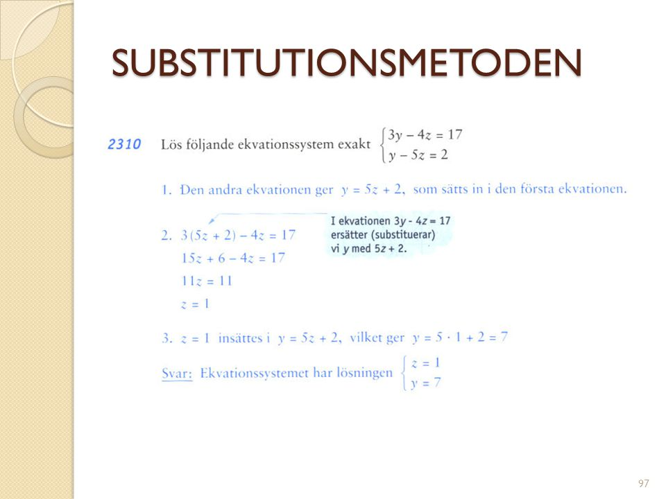 SUBSTITUTIONSMETODEN