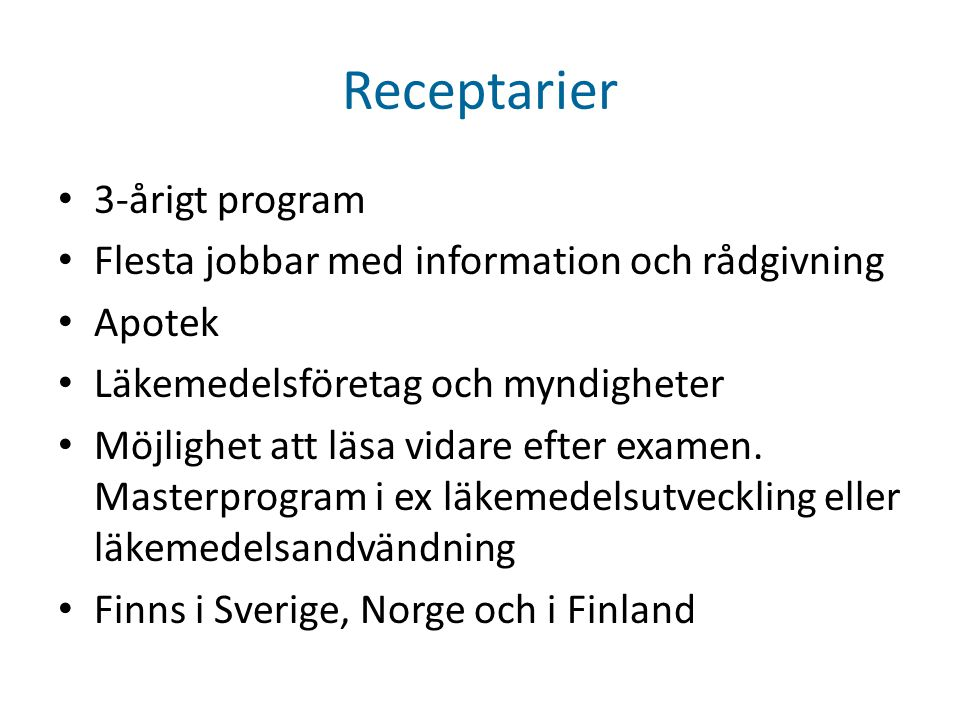 Receptarier 3-årigt program