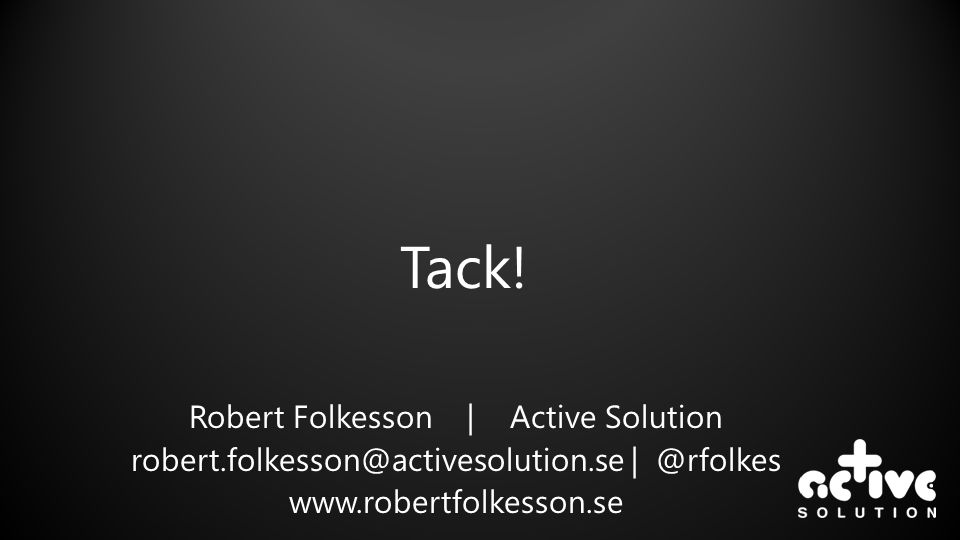 Tack! Robert Folkesson | Active Solution