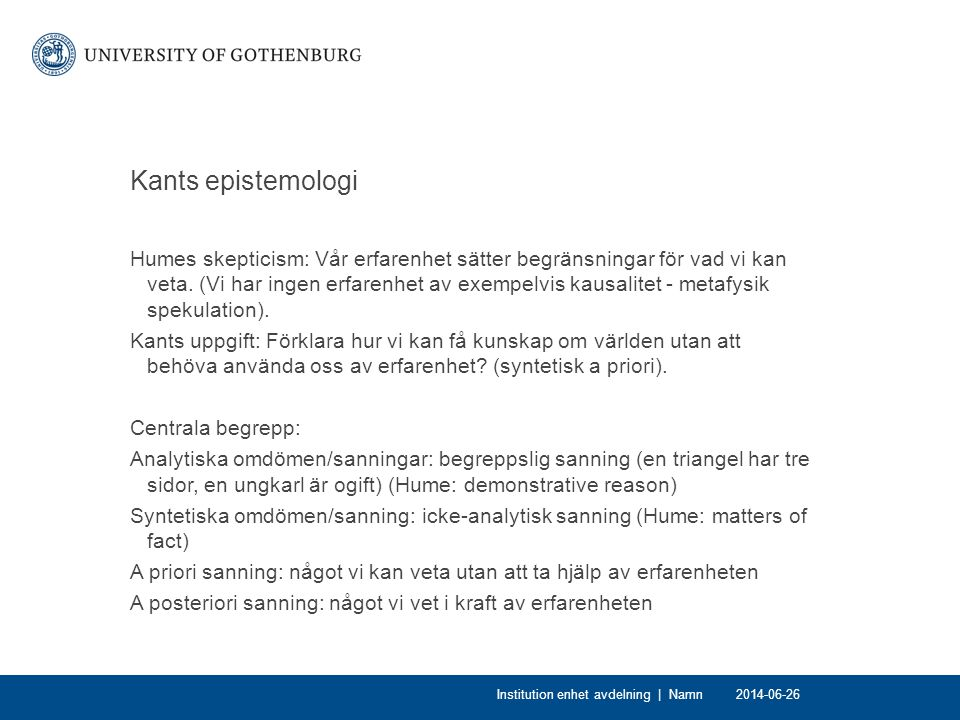 Kants epistemologi
