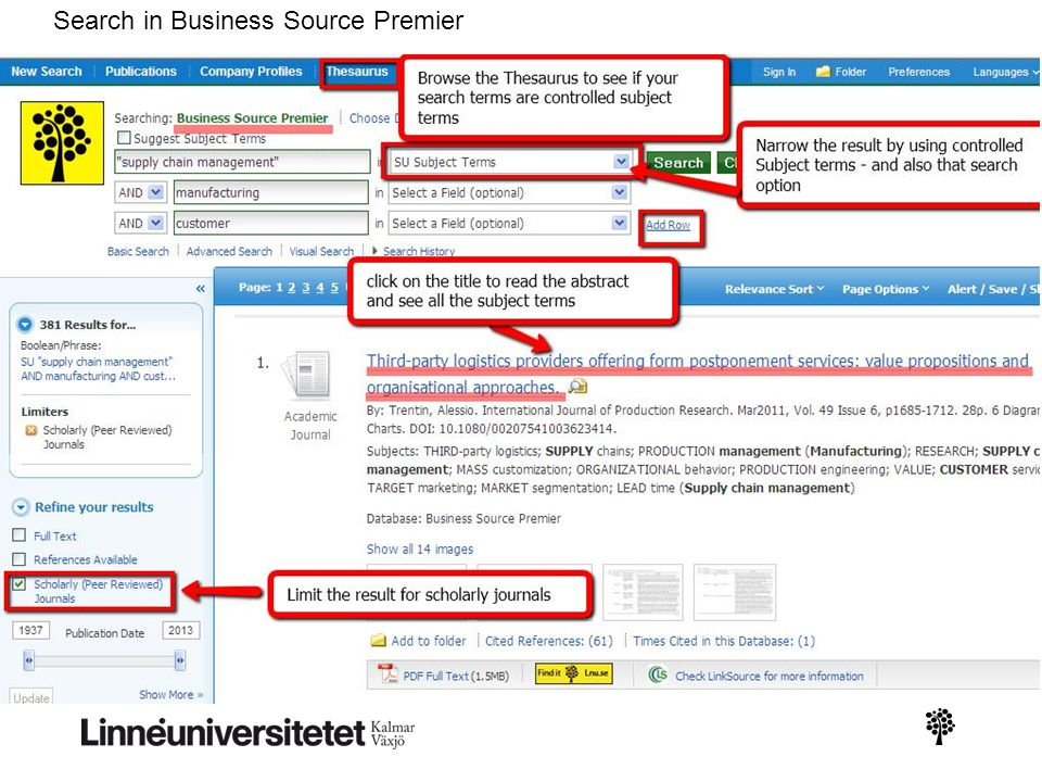 Search in Business Source Premier