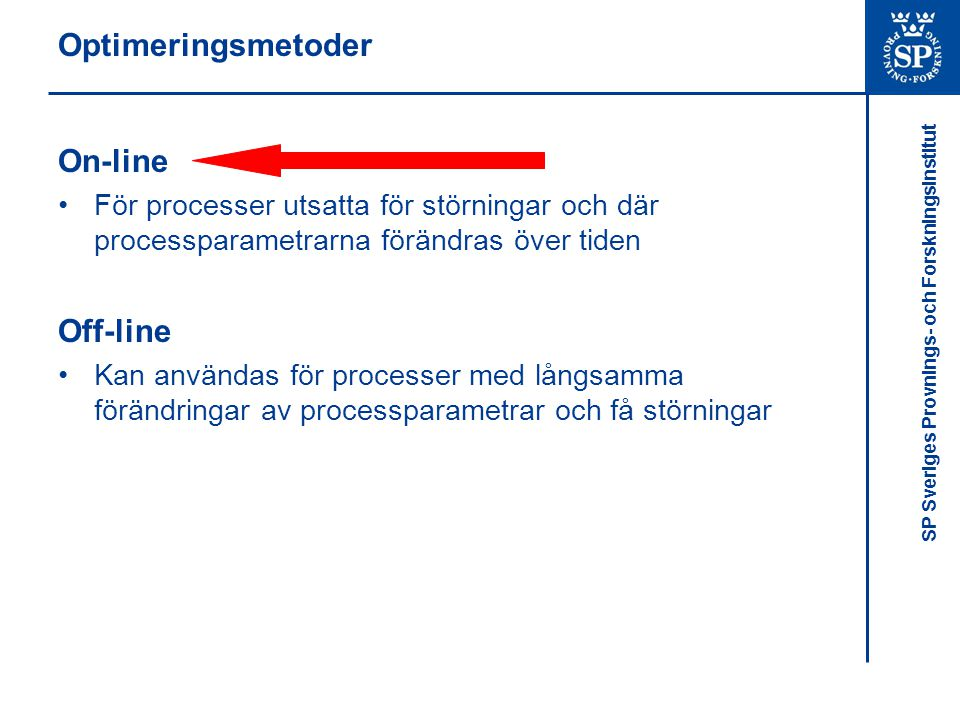 Optimeringsmetoder On-line Off-line