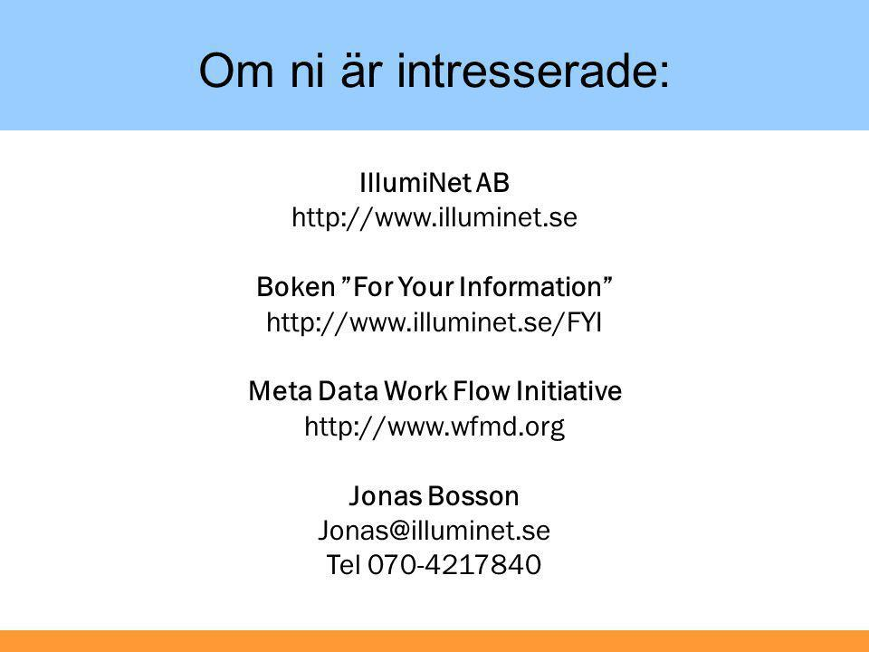 Boken For Your Information Meta Data Work Flow Initiative