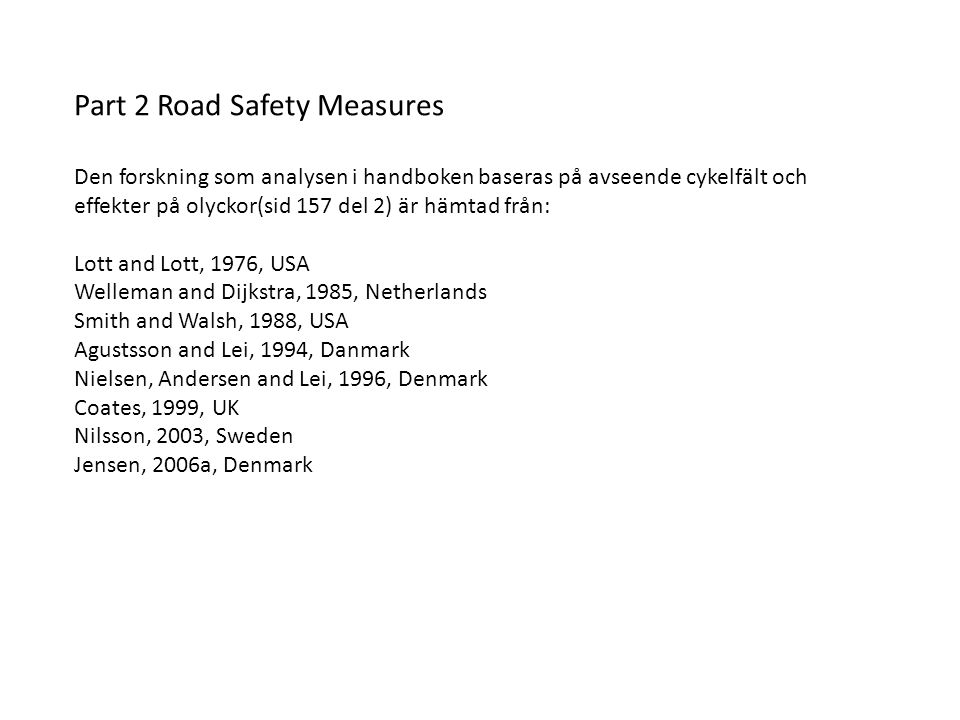 Part 2 Road Safety Measures