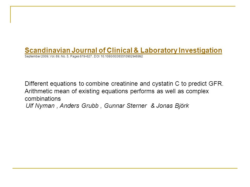 Scandinavian Journal of Clinical & Laboratory Investigation