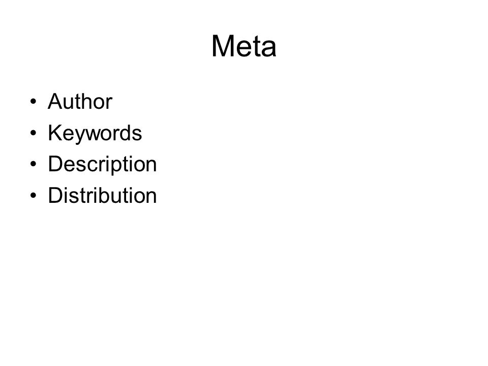 Meta Author Keywords Description Distribution