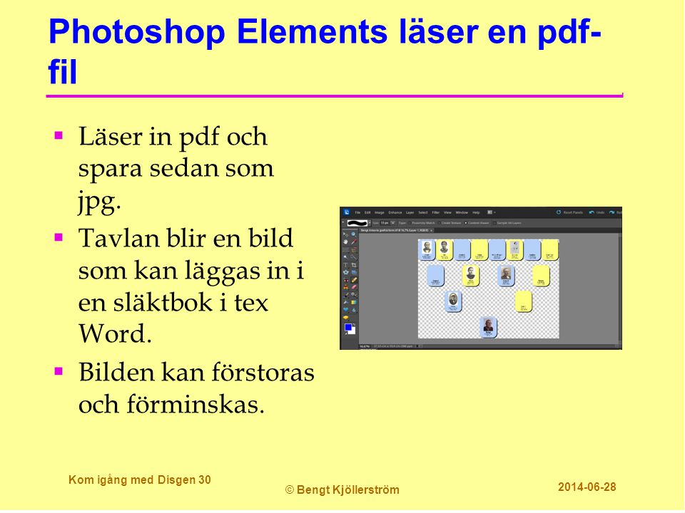 Photoshop Elements läser en pdf-fil