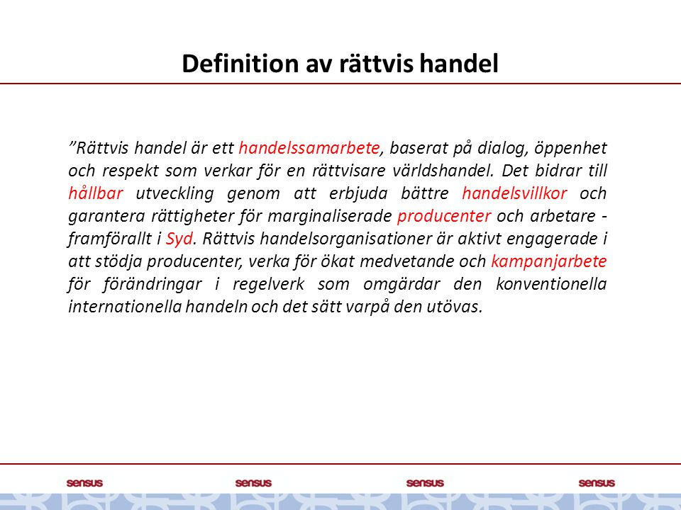 Definition av rättvis handel