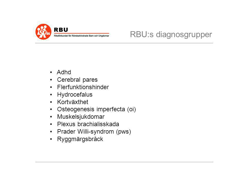 RBU:s diagnosgrupper Adhd Cerebral pares Flerfunktionshinder